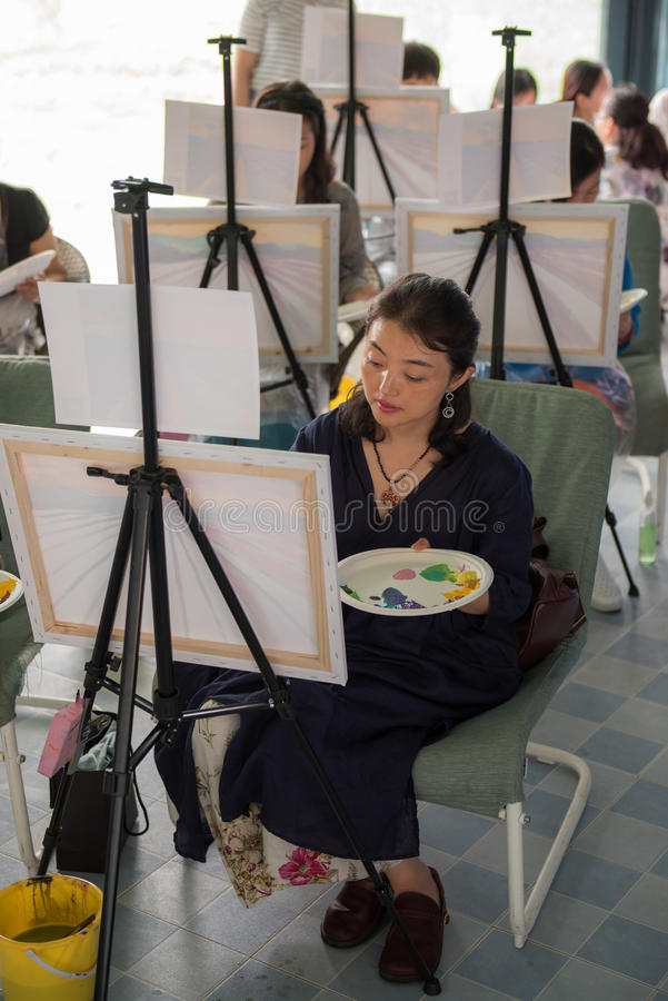 Learning painting paintings of women. Taken in mianyang stock photo
