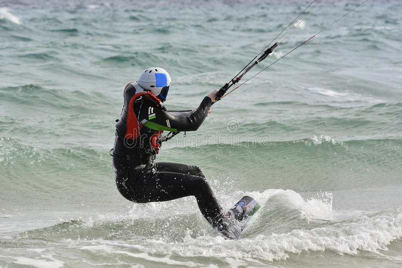 Learning process how to kiteboarding. How to kite: learning process waterstart stock image