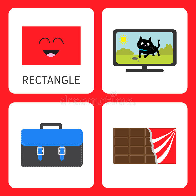 Learning rectangle form shape. Smiling face. Cute cartoon character. TV set with cat, school briefcase, chocolate bar wrapping pap stock illustration