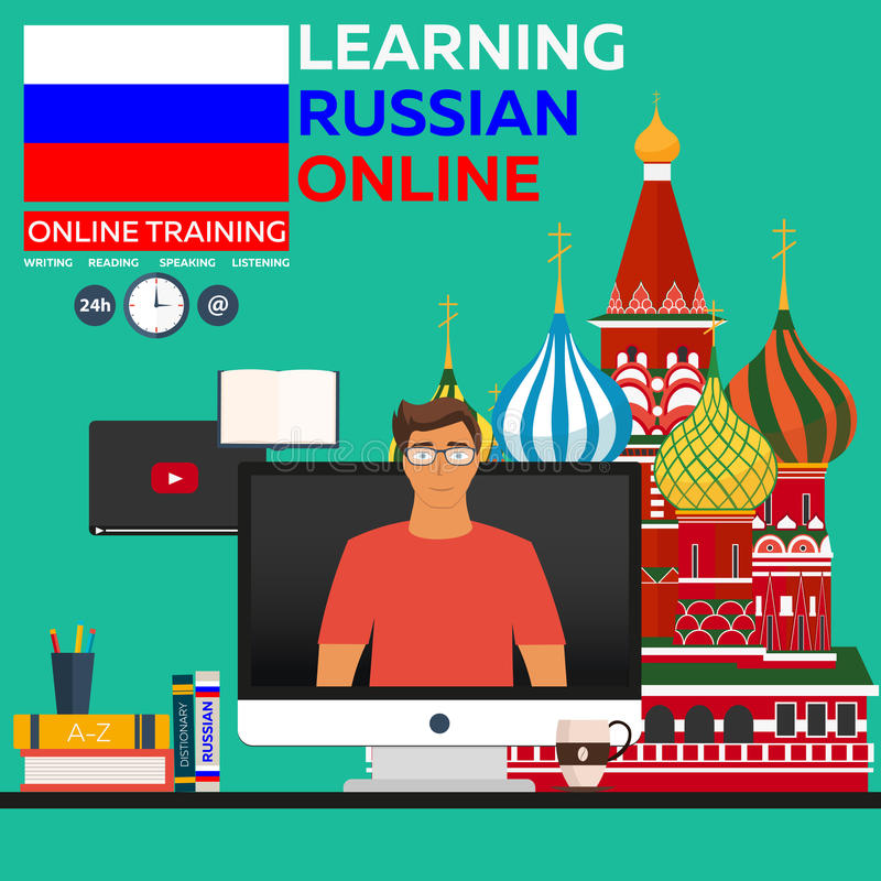 Learning Russian Online. Online training. Distance education. Online education. Language courses, foreign language, language tutor royalty free illustration