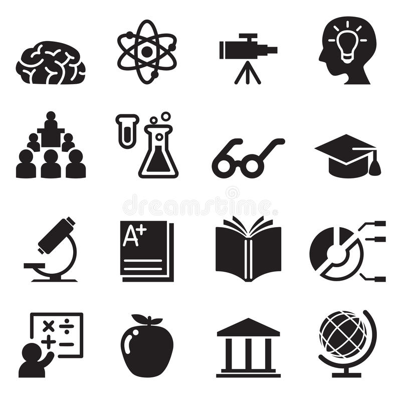 Learning, Smart ,genius icons set stock illustration
