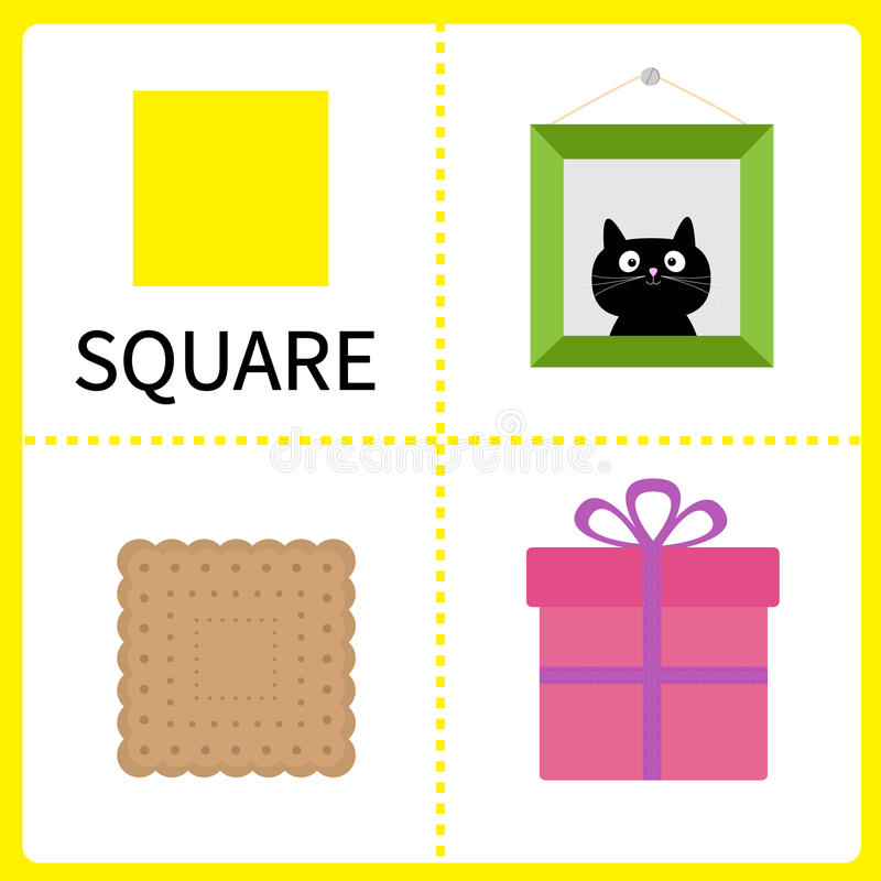 Learning square form. Frame picture, gift box and biscuit. Educational cards for kids. Flat design. vector illustration
