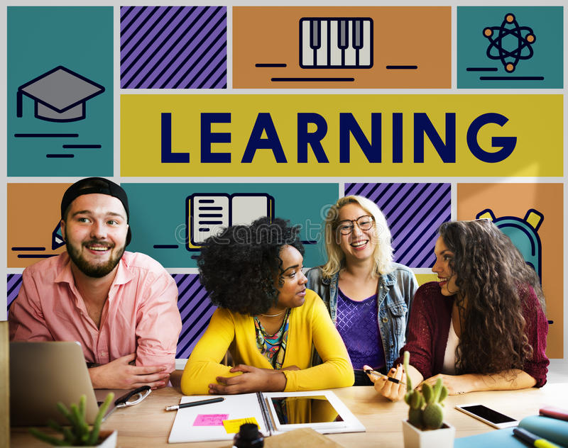 Learning Study Education Knowledge Literacy Concept. Students Learning Study Education Knowledge royalty free stock photos