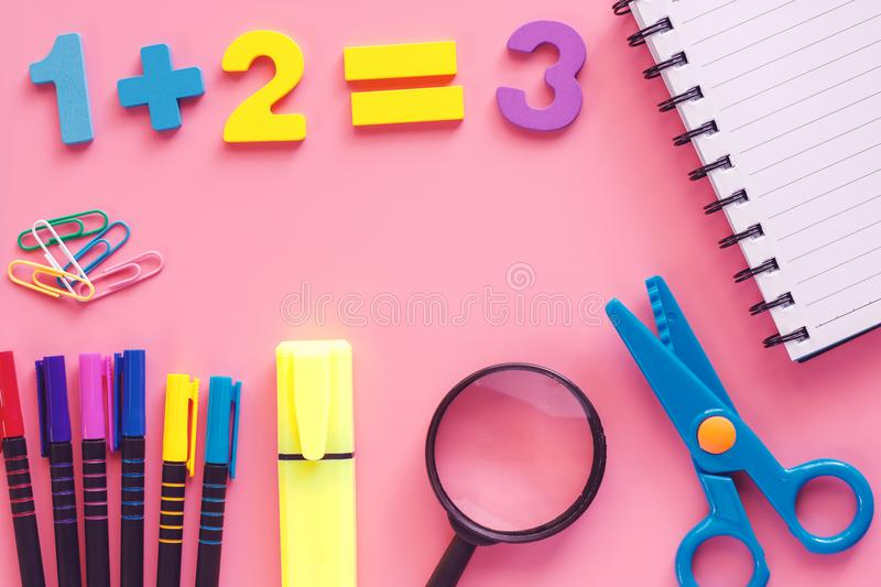 School supplies for Back To School concept stock images