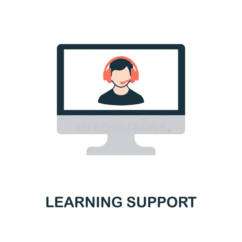 Learning Support flat icon. Monochrome style design from online education icon collection. UI and UX. Pixel perfect flat learning royalty free illustration