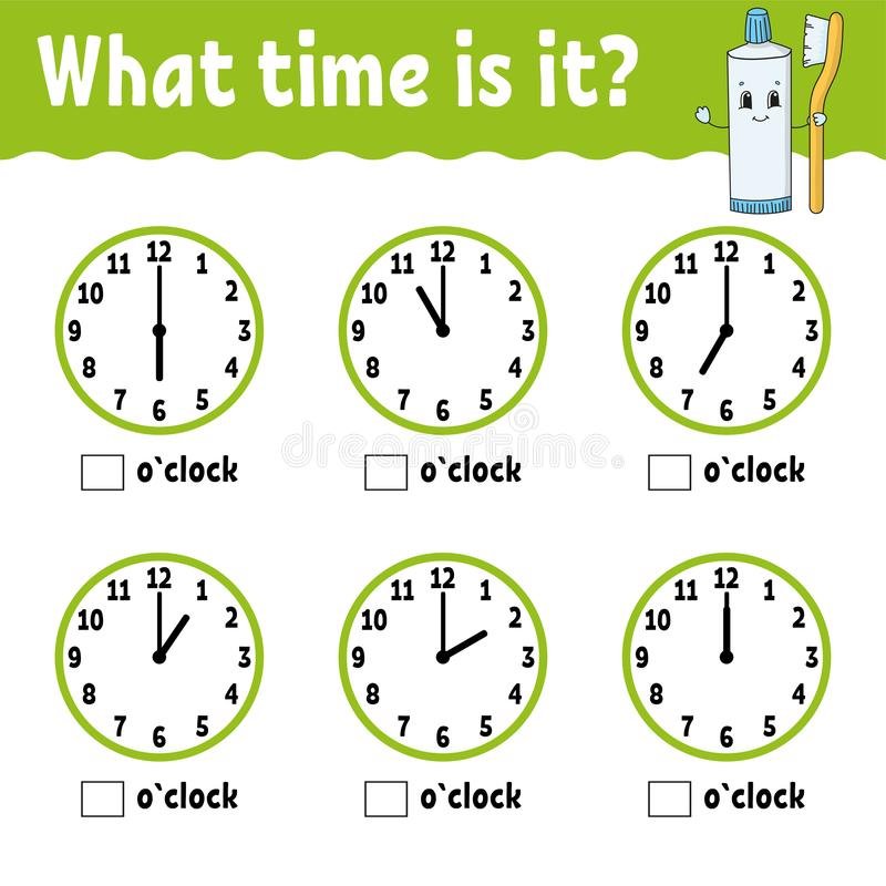 Learning time on the clock. Educational activity worksheet for kids and toddlers. Game for children. Simple flat isolated vector vector illustration