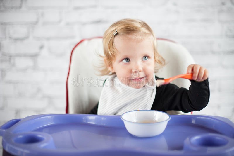 Download Learning to eat stock image. Image of baby, healthcare - 39500257