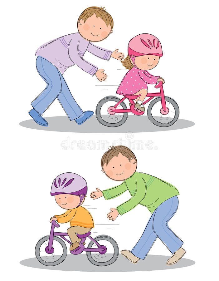Learning to ride a bike. Hand drawn picture of child learning to ride a bicycle. Illustrated in a loose style. Vector eps available