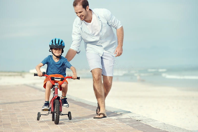 Learning to ride a bike royalty free stock images