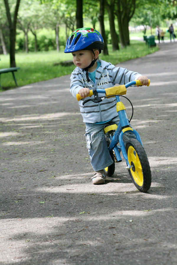 Learning To Ride On A First Bike Stock Photo Image Of