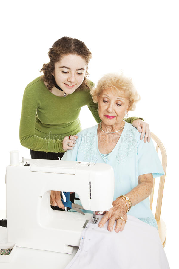 Download Learning To Sew From Grandmother Stock Photo - Image: 24400138