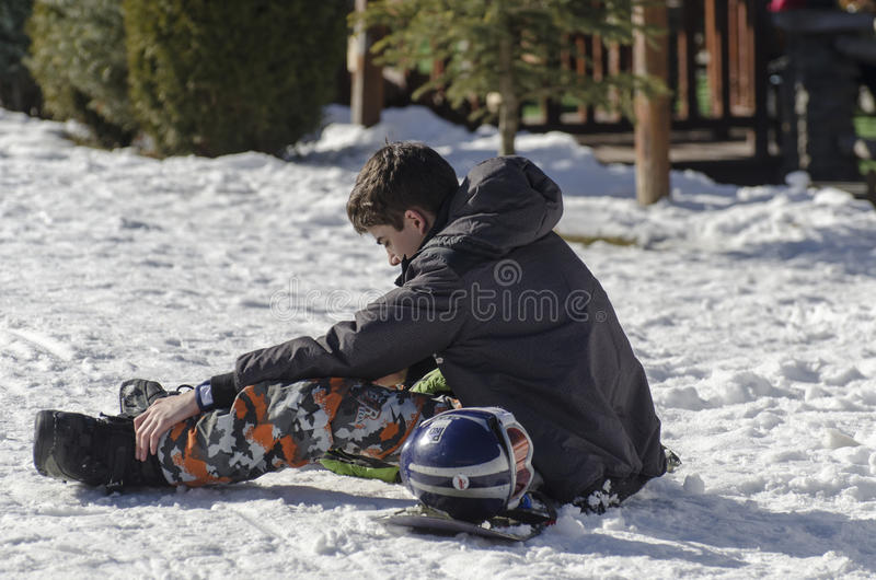 Learning to ski stock photography