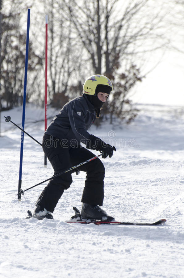 Learning to ski stock images