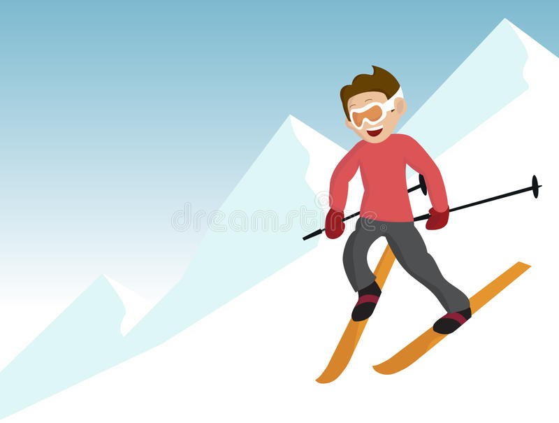 Learning to ski. Vector file available. A boy learns to ski snowplow. He enjoys the snowy mountains stock illustration