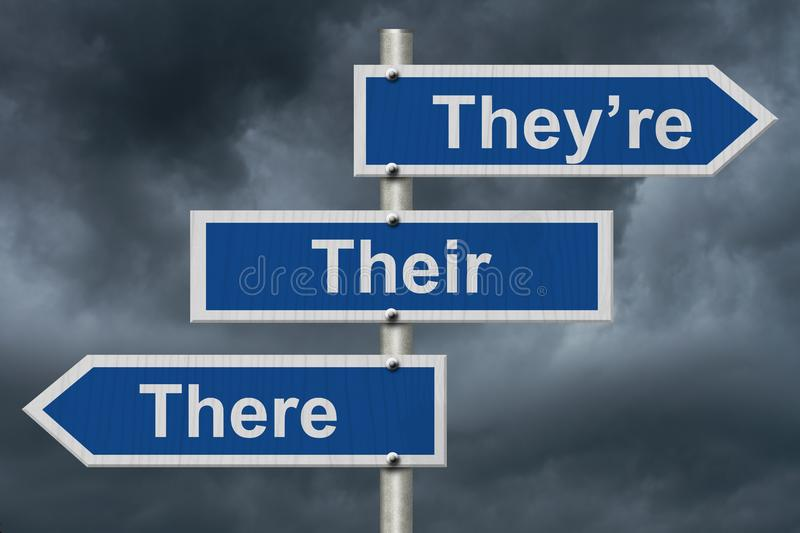 Learning to use proper grammar. Blue road sign with words They`re, Their and There with stormy sky background stock photo