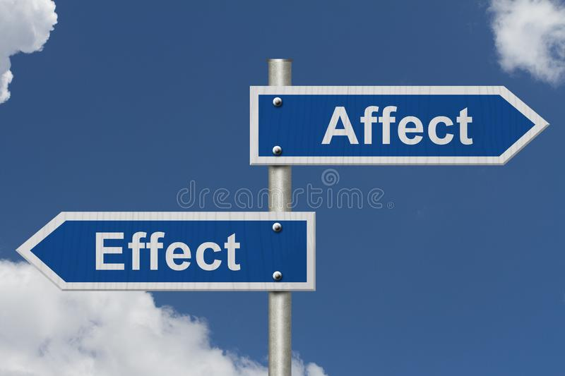 Learning to use proper grammar. Blue road sign with words Affect Effect with sky background stock images