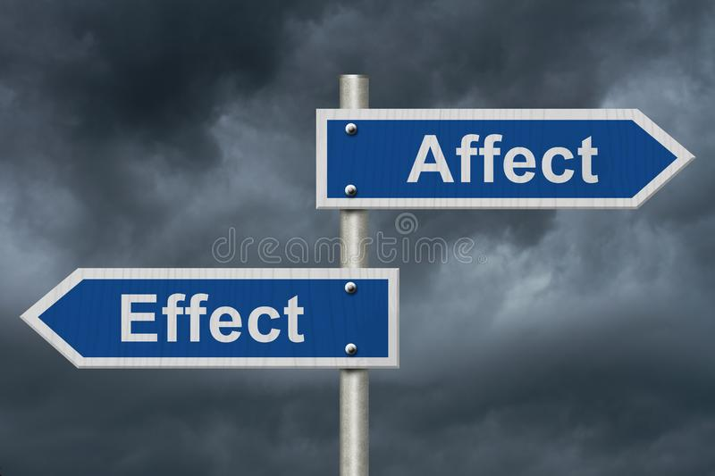 Learning to use proper grammar. Blue road sign with words Affect Effect with stormy sky background stock image