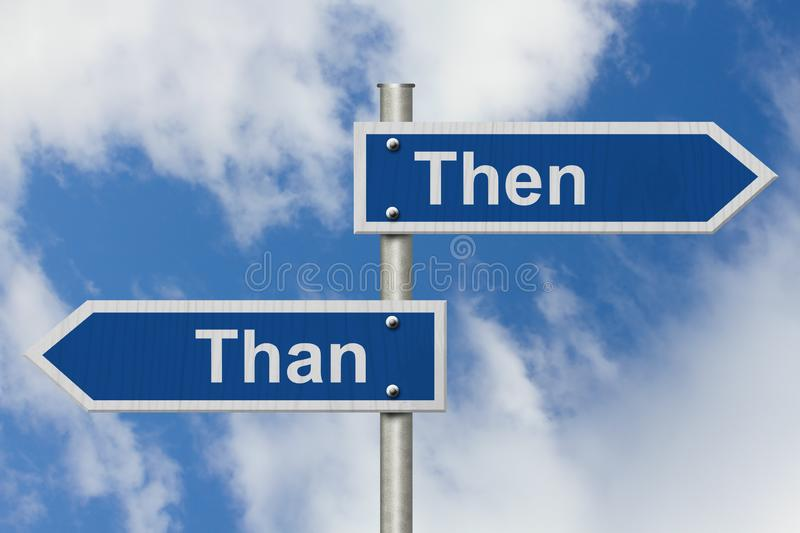 Learning to use proper grammar. Blue road sign with words Then Than with sky background royalty free stock photo