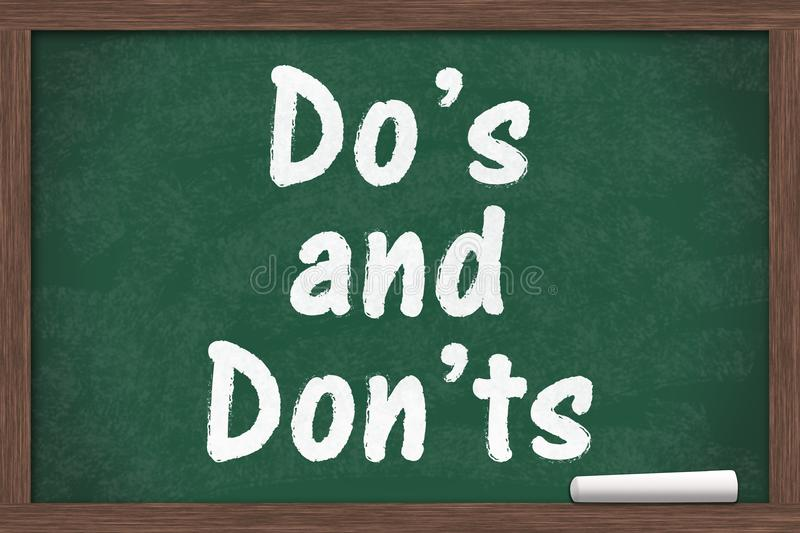 Learning to use proper grammar. Chalkboard with a piece of chalk and text Do`s or Don`ts royalty free stock image