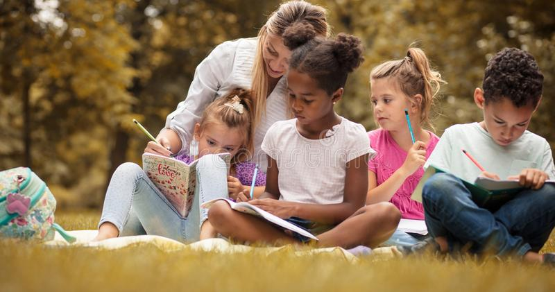 Learning together. stock images
