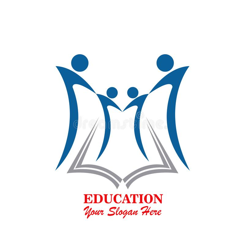 Learning together logo, Family and education brand identity royalty free illustration
