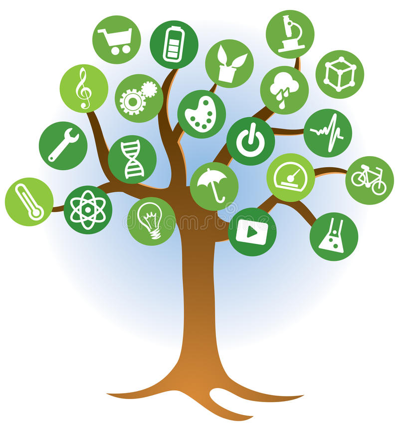 Learning Tree Logo. A learning tree knowledge education logo icon with icons and learning ideas stock illustration