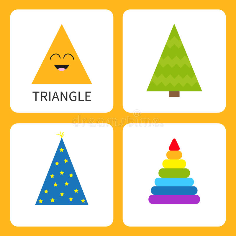 Learning triangle form shape. Smiling face. Cute cartoon character. Fir-tree Christmas tree magic magician hat , colorful pyramid stock illustration