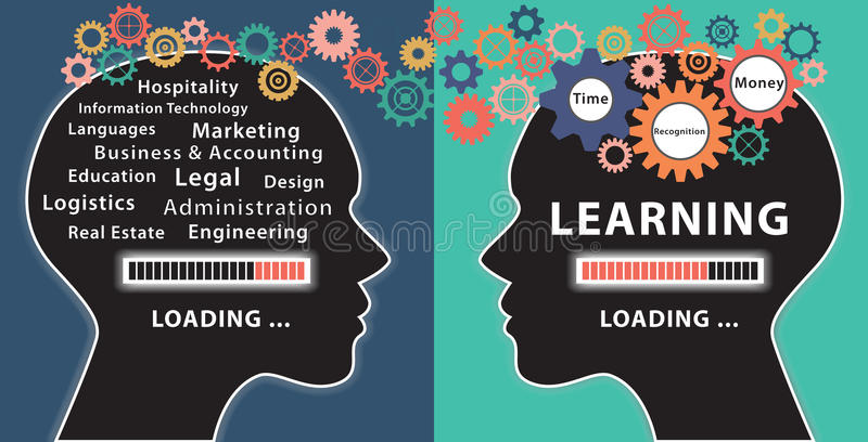Learning with two human heads concept royalty free illustration