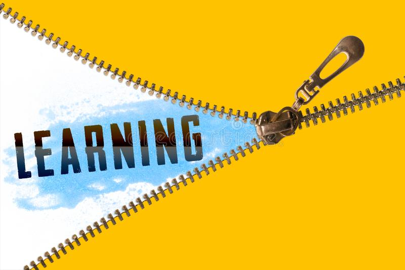 Learning word under zipper royalty free illustration