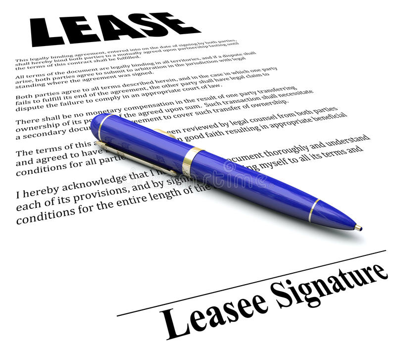Lease Agreement Contract Pen Signing Signature Line Stock