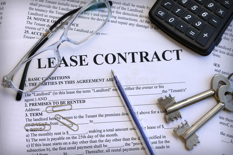 Lease Contract With Keys And Glasses Stock Image  Image Of Legal