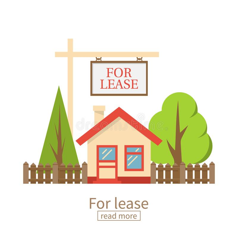 For lease. Home for rent icon. Real estate concept, template for sales, rental, advertising. Vector illustration flat design. Isolated on white background vector illustration