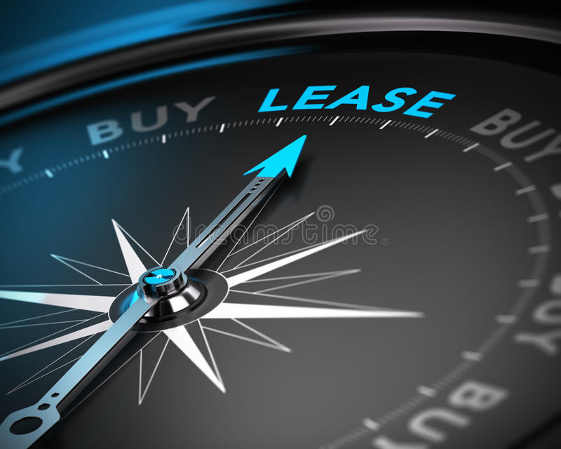 Lease vs Buy Concept. Conceptual 3D render of a compass with the needle pointing the word lease, blue and black tones with blur effect. Concept of leasing versus