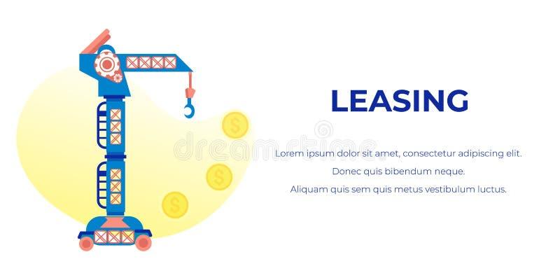 Leasing annunciando insegna con testo editabile illustrazione vettoriale