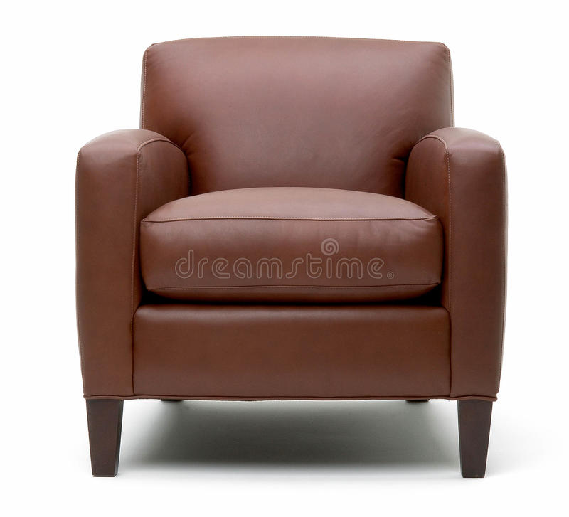 Leather arm chair stock image