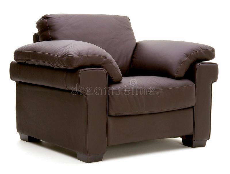 Leather arm chair stock photography
