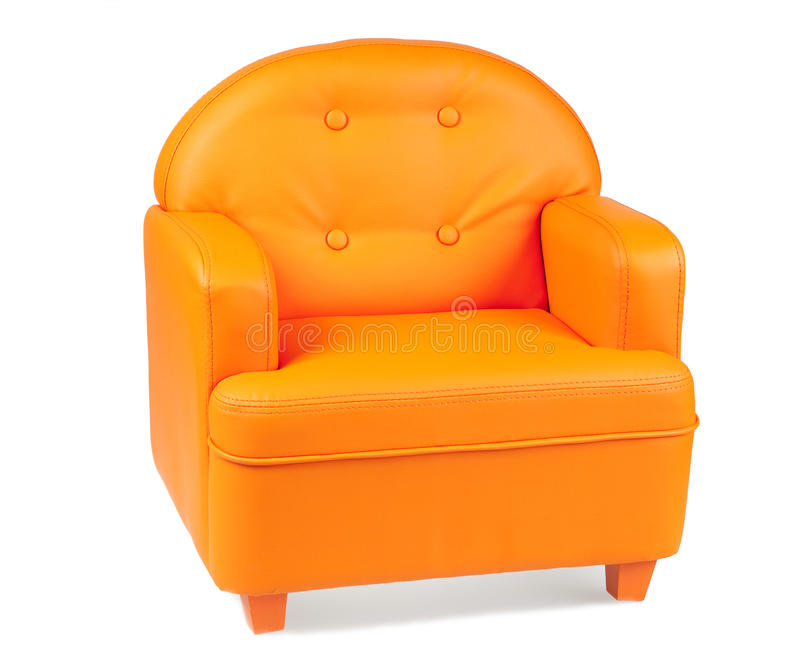 Download Leather Armchair Of Orange Color Stock Photo   Image Of Loft,  Color: 12428118