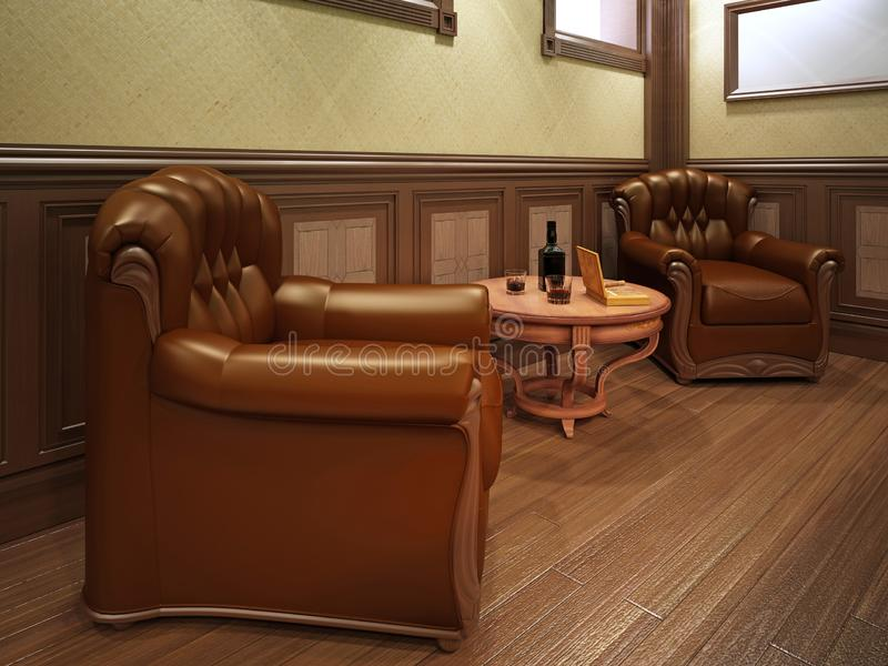 Leather armchairs in a billiard room with a table vector illustration