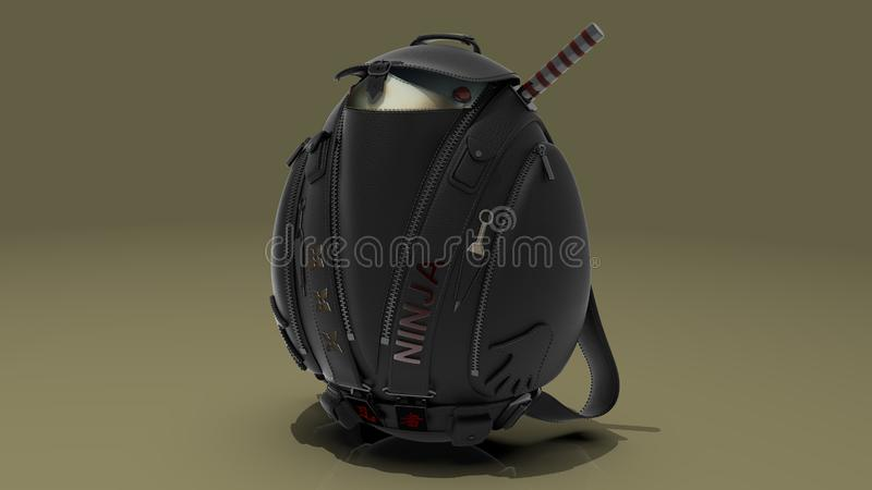 Leather backpack in the form of ninja royalty free stock photos