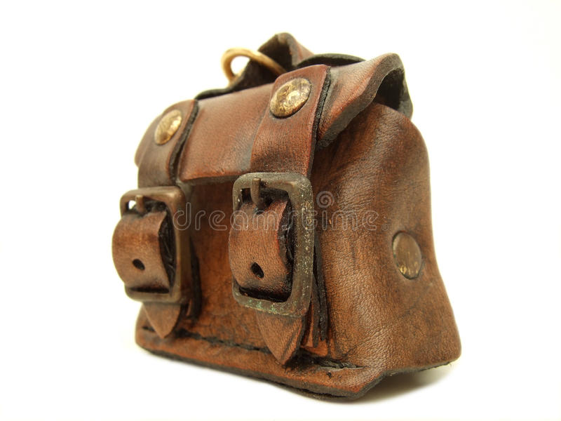 Leather bag. A close-up of a small leather bag stock photography