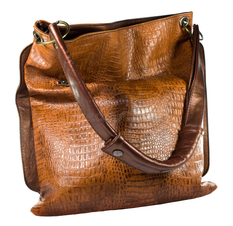 Leather Bag. On white background royalty free stock images