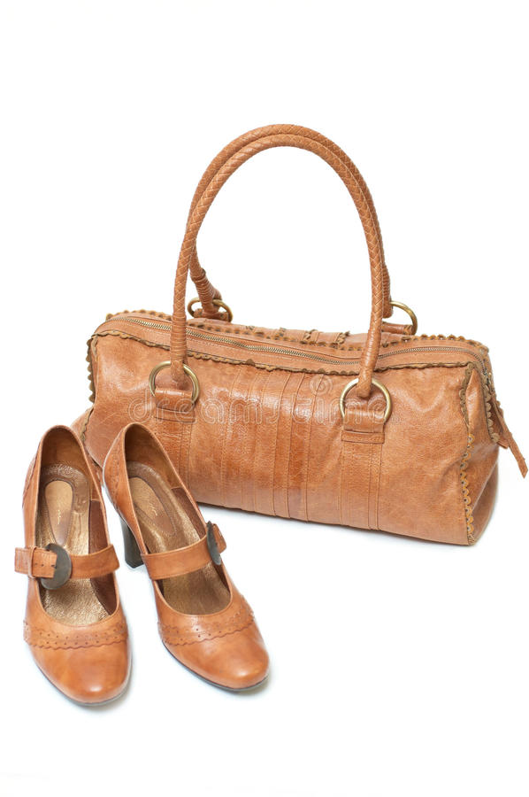 Free Leather Bag And Shoes Royalty Free Stock Images - 9508289