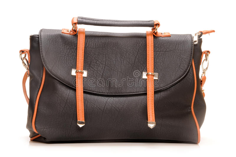 Leather bag. On white background stock image