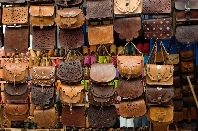 Leather Bags On Street Market In Morocco Royalty Free Stock Image
