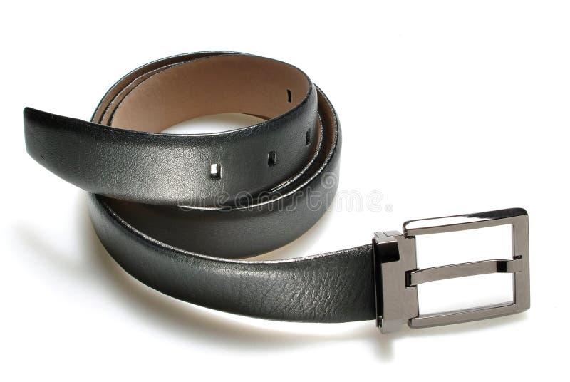 Leather belt. Elegant leather belt isolated over white stock photos