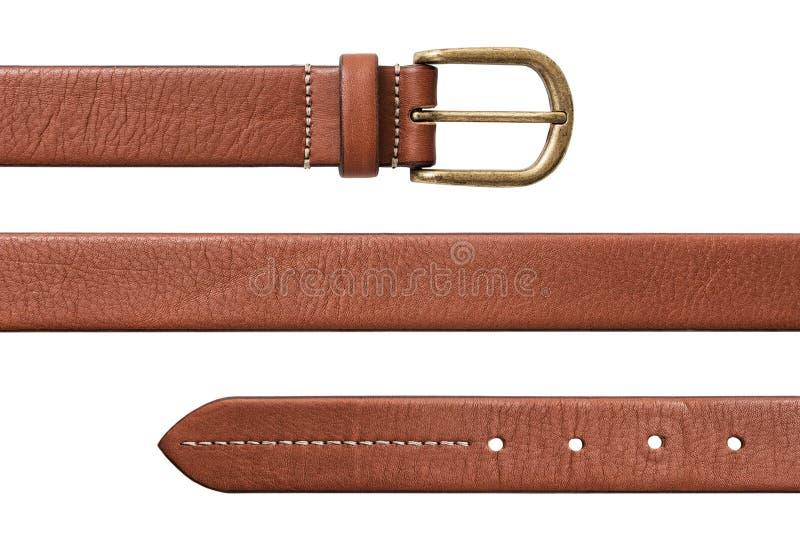 Leather belt. Isolated on white background stock photography