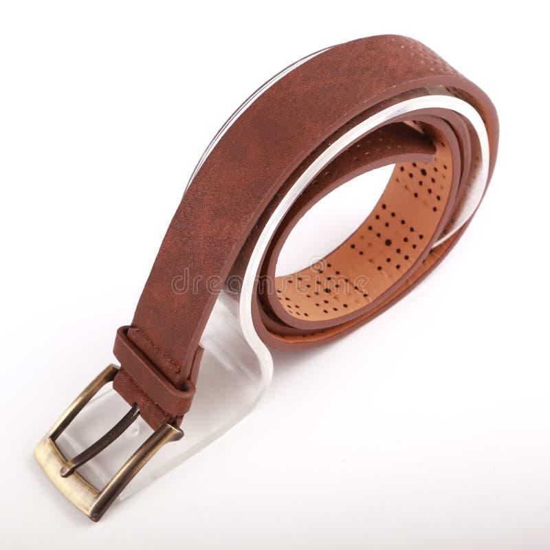 Leather belt. For men on gray background stock image