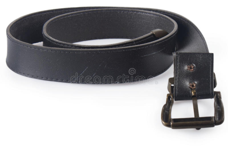 Leather Belt. Shot of a leather belt isolated over white stock image
