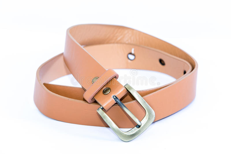 Leather belt for women Isolated on white background royalty free stock images