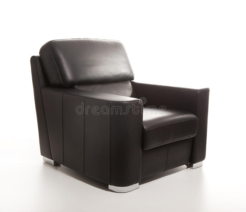 Download Leather Black Armchair Isolated On White Back Stock Photo - Image: 19614260